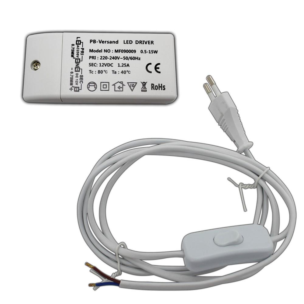 Schalter weiß Netzteil Driver LED Trafo 12V DC 1-30 Watt flach Netzkabel