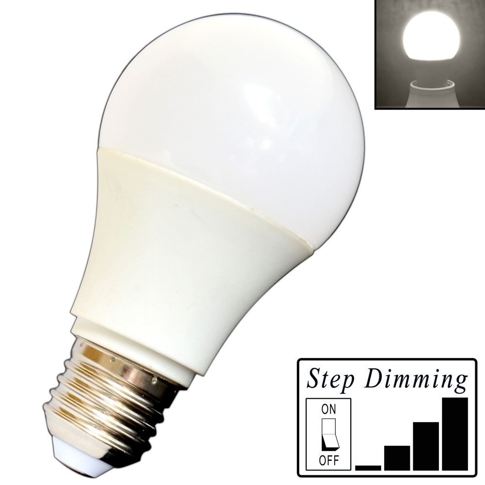 e27 led birne 9 watt dimmbar 4 step dimming tageslichtwei dimmen ohne dimmer ebay. Black Bedroom Furniture Sets. Home Design Ideas