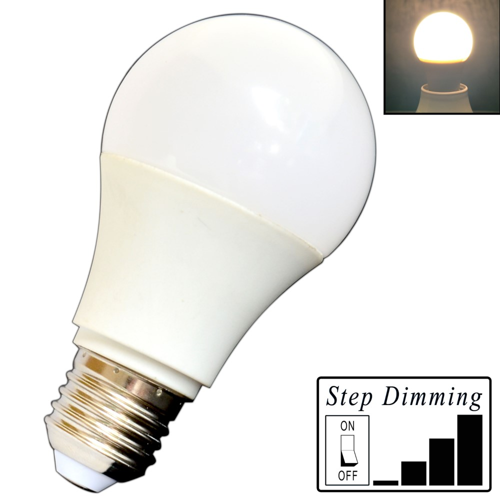 e27 led birne 9 watt dimmbar 4 step dimming warmwei dimmen ohne dimmer lampe ebay. Black Bedroom Furniture Sets. Home Design Ideas
