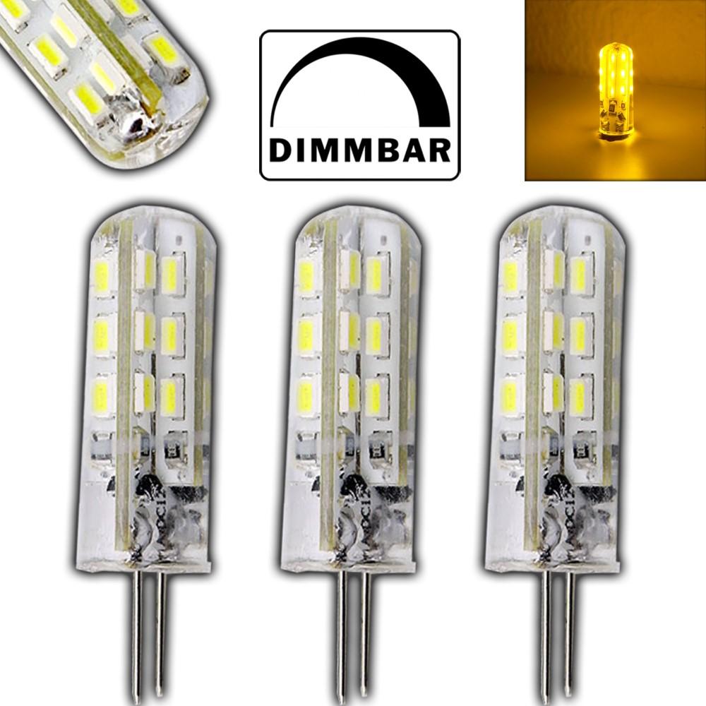 3x G4 1,5 Watt LED Lampe gelb / gelbes Licht 12V DC dimmbar ...