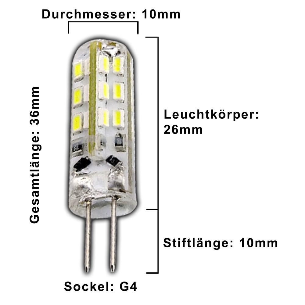 G4 1,5 Watt LED Lampe gelb / gelbes Licht 12V DC dimmbar ...