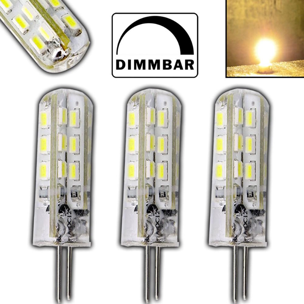 3x g4 led 1 5 watt lampe dimmbar warmwei 12v dc 24 smd spot halogen dimmer set ebay. Black Bedroom Furniture Sets. Home Design Ideas