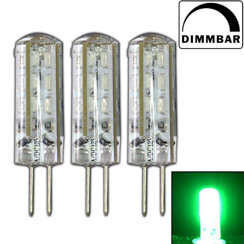 3x g4 led 1 5 watt lampe dimmbar gr n 12v dc 24 smd halogen dimmer bunt ebay. Black Bedroom Furniture Sets. Home Design Ideas