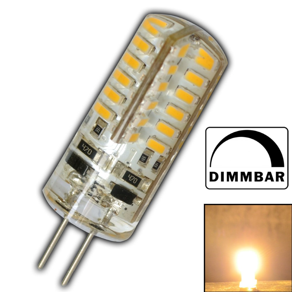 g4 led 3 watt 12v dc dimmbar warmwei 48 smd halogen lampe halogenersatz silikon. Black Bedroom Furniture Sets. Home Design Ideas