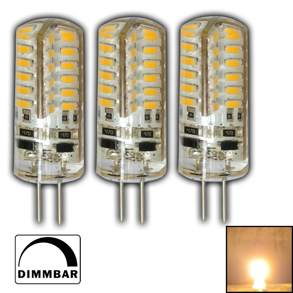 3x g4 led dimmbar 3 watt 12v dc warmwei 48 smd lampe halogen gl hbirne birne ebay. Black Bedroom Furniture Sets. Home Design Ideas