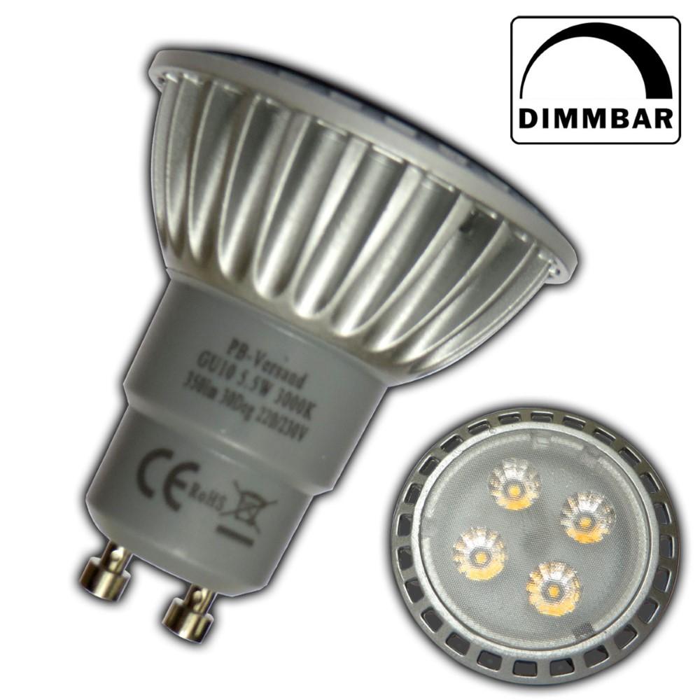 gu10 led 5 5 watt dimmbar warmwei leuchtmittel lampe strahler f r dimmer. Black Bedroom Furniture Sets. Home Design Ideas