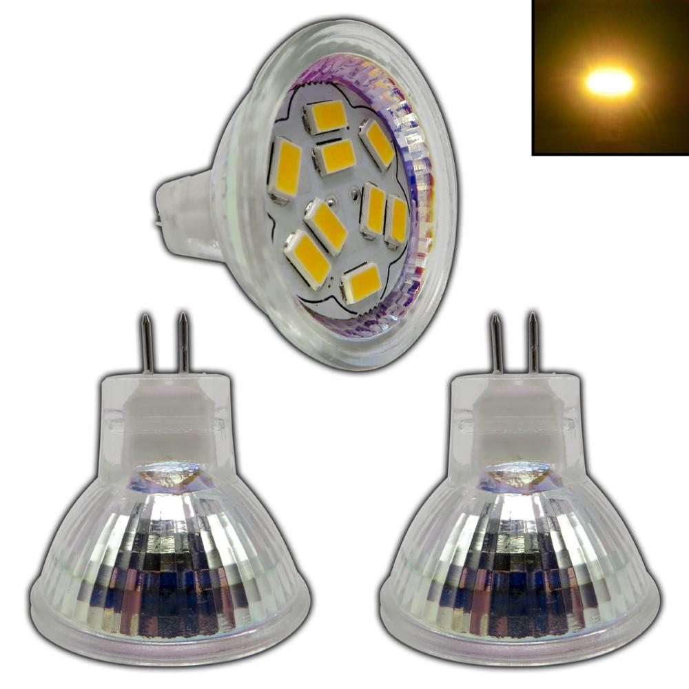 3x MR11 GU4 LED 2 Watt 12V AC//DC warmweiss Birne Lampe Leuchtmittel Halogen